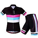 ราคาถูก เสื้อปั่นจักรยาน-WOSAWE สำหรับผู้หญิง แขนสั้น Cycling Jersey with Shorts สีดำ / สีแดง จักรยาน กางเกงขาสั้น เสื้อยืด แป้นสั้น ระบายอากาศ 3D Pad แห้งเร็ว ออกแบบตามสรีระ แถบสะท้อนแสง กีฬา Elastane แถบแนวนอน