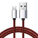 baratos Pulseira-6.5 pés / 2 m nylon trançado usb tipo-c cabo de dados 3a cabo de carregamento para telefones