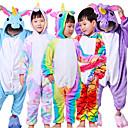 ราคาถูก ชุดนอน Kigurumi-สำหรับเด็ก Kigurumi Pajama Unicorn Flying Horse รูปสัตว์ Onesie Pajama Polar Fleece ขาว+น้ำเงิน / ขาว+ชมพู / สีม่วง คอสเพลย์ สำหรับ เด็กชายและเด็กหญิง สัตว์ชุดนอน การ์ตูน Festival / Holiday