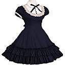 billige Lolitakjoler-Stuepike Kostumer Prinsesse Gothic Lolita Skole Lolita Rynker Kjoler Dame Jente Blonde Bomull Japansk Cosplay-kostymer Rød / Blå / Rosa Vintage Kappeerme Kortermet Knelang / Gotisk Lolita