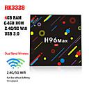Χαμηλού Κόστους Χρώμα τρίχας-h96 max h2 amlogic rk3328 καιroid 7.1 4gb ddr4 64gb tv κουτί διπλής ζώνης wifi lan bluetooth usb3.0 hdmi