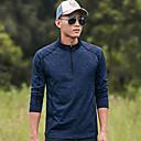 ราคาถูก เสื้อยืดปีนเขา-สำหรับผู้ชาย Hiking T-shirt แขนยาว กลางแจ้ง ทน UV ระบายอากาศ Fast Dry Sweat-wicking เสื้อยึด เสื้อเชิ้ต Tops ฤดูใบไม้ร่วง ฤดูใบไม้ผลิ POLY Terylene ปกตั้ง สีเทาเข้ม น้ำเงินท้องฟ้า ฟ้า / ยืด