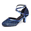 ราคาถูก รองเท้าเต้นโมเดิร์นและรองเท้าบัลเล่ต์-สำหรับผู้หญิง รองเท้าเต้นรำ Synthetics โมเดอร์น แสงระยิบระยับ / ปักเลื่อม ส้น ส้นป้าน ตัดเฉพาะได้ สีทอง / สีเงิน / ฟ้า / Performance / ฝึก
