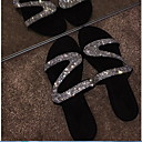Χαμηλού Κόστους Γυναικεία Τσόκαρα & Μιουλ-Γυναικεία Σανδάλια Επίπεδο Τακούνι Στρογγυλή Μύτη Τεχνητό διαμάντι PU Καλοκαίρι Μαύρο