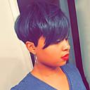 billige Lokkløs-Menneskehår Parykk Kort Rett Naturlig rett Bobfrisyre Pixiefrisyre Lagvis frisyre Asymmetrisk frisyre Svart Liv Lett dressing Bekvem Lokkløs Dame Alle Svart 8 tommer / Naturlig hårlinje