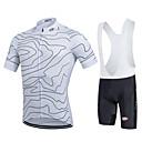 Χαμηλού Κόστους Σετ Μπλούζες & Σορτσάκια/Παντελόνια Ποδηλασίας-FUALRNY® Ανδρικά Κοντομάνικο Αθλητική φανέλα και σορτς ποδηλασίας Μαύρο Λευκό Ριγέ Ποδήλατο Ρούχα σύνολα Αναπνέει Ύγρανση Γρήγορο Στέγνωμα Ανατομικός Σχεδιασμός Αντανακλαστικές Λωρίδες Αθλητισμός Ριγέ