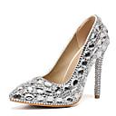 Χαμηλού Κόστους Γυναικεία παπούτσια γάμου-Γυναικεία Γαμήλια παπούτσια Τακούνι Στιλέτο Μυτερή Μύτη Τεχνητό διαμάντι PU Γλυκός Ανοιξη καλοκαίρι / Φθινόπωρο & Χειμώνας Πράσινο / Βυσσινί / Ασημί / Γάμου / Πάρτι & Βραδινή Έξοδος