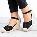 Χαμηλού Κόστους Παπούτσια χορού λάτιν-Γυναικεία Σανδάλια Τακούνι Σφήνα Στρογγυλή Μύτη Αγκράφα Σουέτ / Δίχτυ Καθημερινό / Μινιμαλισμός Άνοιξη & Χειμώνας / Ανοιξη καλοκαίρι Μαύρο / Λευκό / Συνδυασμός Χρωμάτων