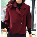 ราคาถูก กระเป๋า Totes-สำหรับผู้หญิง ทุกวัน ฤดูใบไม้ร่วง & ฤดูหนาว ปกติ แจ๊คเก็ต, สีพื้น Rolled collar แขนยาว เส้นใยสังเคราะห์ ผ้าขนสัตว์สีธรรมชาติ / ไวน์