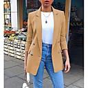 ราคาถูก เสื้อคลุมผู้หญิง-สำหรับผู้หญิง เสื้อคลุมสุภาพ ปกคอแบะของเสื้อแบบพึค เส้นใยสังเคราะห์ สีดำ / สีเหลือง / สีน้ำเงิน