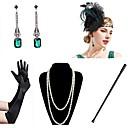 povoljno Stare svjetske nošnje-Vintage 1920s Gatsby Rukavice Traka za kosu u stilu 20-ih Žene Kostim Ogrlica Naušnica Obala / Zelen Vintage Cosplay Festival