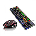 baratos Teclados-LITBest Q1Stars USB com fio Combinação de teclado do mouse Cores Gradiente / Retroiluminado teclado mecânico / Teclado de Gaming Games / Mecânico Mouse para Jogos 2400 dpi