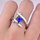 billige Statement Ringe-Dame Ring 1pc Blå Fuskediamant Legering Rund Vintage trendy Koreansk Daglig Smykker Heldig