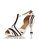 baratos Sapatos de Dança Latina-Mulheres Sapatos de Dança Couro Ecológico Sapatos de Dança Latina Recortes Salto Salto Carretel Personalizável Preto / Branco / Espetáculo