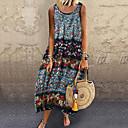 baratos Roupas de Mergulho & Camisas de Proteção-Mulheres balanço Vestido Estampa Colorida Longo