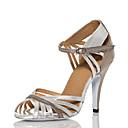 baratos Sapatos de Dança Latina-Mulheres Sapatos de Dança Couro Ecológico Sapatos de Dança Latina Recortes Salto Salto Alto Magro Personalizável Prata / Espetáculo
