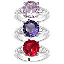 billige Ringer for Par-Dame Ring 1pc Lilla Rød Rosa Kobber Sirkelformet Grunnleggende Koreansk Mote Festival Smykker