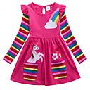 billiga Flickklänningar-Barn Flickor Aktiv Geometrisk Djur Tryck Långärmad Ovanför knäet Klänning Fuchsia