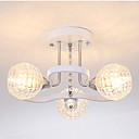 billige Bordlamper-moderne lysekrone semi-innfelt tak omgivelseslys 3 lys elektroplettert malt overflate metall pendellamper til soverommet stue