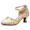 povoljno Obuća za dvoranski ples i moderne plesove-Žene Plesne cipele Koža Moderna obuća Štikle Deblja visoka potpetica Zlato / Srebro / Vježbanje