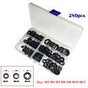 billige LED-stringlys-280stk indre tannstjernelås trykklås vaskemaskin hastighetsklemme festeklassifiseringssett (eskeemballasje)