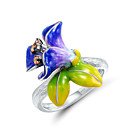 ราคาถูก ภาพวาดแอบสแตรก-สำหรับผู้หญิง แหวน 1pc สายรุ้ง เลียนแบบเพชร โลหะผสม วินเทจ แฟชั่น สไตล์น่ารัก ทุกวัน เครื่องประดับ สไตล์วินเทจ Flower