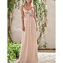 זול שמלות שושבינה-גזרת A רצועות ספגטי עד הריצפה שיפון שמלה לשושבינה  עם נצנצים / קפלים על ידי LAN TING Express