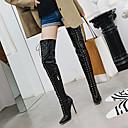billiga Syntetiska peruker utan hätta-Dam Stövlar Over-The-Knee Boots Stilettklack Spetsig tå Lack Over-knee-stövlar Klassisk / Minimalism Höst vinter Svart / Vit / Röd / Bröllop / Fest / afton