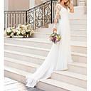 baratos Vestidos de Casamento-Linha A Decote V Cauda Escova Chiffon / Renda Manga Longa Romântico Detalhe da Ilusão Vestidos de casamento feitos à medida com Aplicação de renda 2020