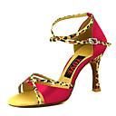 Χαμηλού Κόστους Παπούτσια χορού λάτιν-Γυναικεία Παπούτσια Χορού Σατέν Παπούτσια χορού λάτιν Αγκράφα Τακούνια Τακούνι καμπάνα Εξατομικευμένο Φούξια / Κόκκινο / Δερματί / Επίδοση / Δέρμα / Εξάσκηση