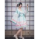 povoljno Kostimi nadahnuti video igrama-Cvijetan Japan and Korea Style Sweet Lolita Cosplay Nošnje Kimono Ženska Japanski Cosplay Kostimi Mint zelena Cvijet Flare rukav Dugih rukava Do koljena