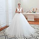 Χαμηλού Κόστους Νυφικά-Βραδινή τουαλέτα Λαιμόκοψη V Ουρά μέτριου μήκους Τούλι Κανονικοί ιμάντες Καθημερινά Φορέματα γάμου φτιαγμένα στο μέτρο με Πιασίματα 2020