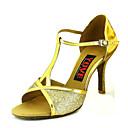 ราคาถูก รองเท้าแบบลาติน-สำหรับผู้หญิง รองเท้าเต้นรำ PU ลาติน หัวเข็มขัด ส้น ส้นสูงบาง ตัดเฉพาะได้ สีดำ / สีทอง / สีเงิน / Performance / หนังสัตว์ / ฝึก