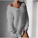 povoljno Modne naušnice-Žene Jednobojni Dugih rukava Pullover Džemper od džempera, V izrez Crn / Obala / Blushing Pink S / M / L
