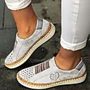 ราคาถูก รองเท้าส้นเตี้ยผู้หญิง-สำหรับผู้หญิง รองเท้าส้นเตี้ยทำมาจากหนังและรองเท้าสวมแบบไม่มีเชือก ส้นแบน ปลายกลม PU ฤดูร้อน สีดำ / ไวน์ / ขาว