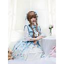 billige Vaskehåndklæ-Sweet Lolita Prinsesse Lolita søt stil Kjoler Dame Japansk Cosplay-kostymer Lyseblå Dyr Sommerfugl Halvlange ermer Kortermet Knelang