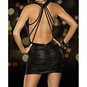 billiga Sexiga uniformer-Dam Med remmar på baksidan Sexig Uniform / kinesisk klänning Natt Enfärgad Svart Rubinrött En Storlek