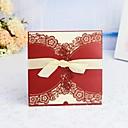 """ราคาถูก การ์ดงานแต่ง-ผ้าคลุม & กระเป๋า เชิญแต่งงาน 30pcs - การ์ดส่งบัตรเชิญ / การ์ดแทนคำขอบคุณ / บัตรการตอบสนอง Artistic Style / สไตล์สมัยใหม่ / รูปแบบลายดอกไม้ Pearl Paper 6""""×6"""" (15*15ซม.) โบว์ซาติน / ริบบิ้น"""