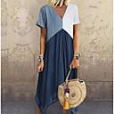 Χαμηλού Κόστους Χωρίς κάλυμμα-Γυναικεία Γραμμή Α Φόρεμα - Συνδυασμός Χρωμάτων Ασύμμετρο