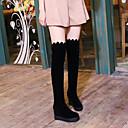 billige Mote Boots-Dame Støvler Over-The-Knee Boots Skjult Hæl Rund Tå PU Lårhøye støvler Fritid / Britisk Høst vinter Svart / Fest / aften