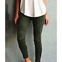 baratos Calças e Shorts para Trilhas-Mulheres Moda de Rua Delgado Calças - Sólido Cintura Alta Algodão Preto Vinho Verde Tropa XS S M
