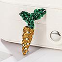 baratos Broches-Mulheres Broches Tema Flores Cenoura Desenho Fashion Broche Jóias Amarelo e Verde Para Presente Diário
