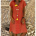 זול שמלות קוקטייל-עד הברך גיאומטרי - שמלה טישרט בגדי ריקוד נשים
