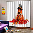 baratos Cortinas 3D-Criativo escurecimento personalizado cortinas de janela 3d impressão digital do dia das bruxas tema cortina sala de estar / cortina de tecido estúdio quarto