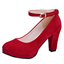 billige Jazz-sko-Dame Høye hæler Tykk hæl Spisstå Spenne PU Britisk Vår & Vinter / Vinter Svart / Rød / Rosa / Fest / aften