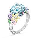 ราคาถูก แหวนผู้ชาย-สำหรับผู้หญิง แหวน 1pc สายรุ้ง เลียนแบบเพชร โลหะผสม ผิดปกติ สี่เหลี่ยมจตุรัส เกาหลี แฟชั่น สไตล์น่ารัก ทุกวัน เครื่องประดับ ทางเรขาคณิต โชคดี
