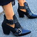 זול מגפי נשים-בגדי ריקוד נשים מגפיים עקב עבה בוהן מחודדת PU מגפונים\מגף קרסול סתיו חורף שחור / לבן / אדום