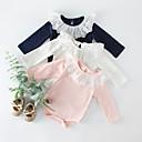 billige Babydrakter-3 deler Baby Jente Aktiv / Gatemote BLå & Hvit Ensfarget Langermet Bomull Body Hvit
