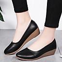 povoljno Ženske ravne cipele-Žene Ravne cipele Wedge Heel Okrugli Toe PU Ljeto Crn / Bež / Žutomrk