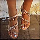 ราคาถูก รองเท้าแตะ & Flip-Flops ผู้หญิง-สำหรับผู้หญิง หนังเทียม ฤดูร้อน หวาน รองเท้าแตะ ส้นแบน เปิดนิ้ว หินประกาย / เพิร์ลเทียม ขาว / สีดำ / สีน้ำตาล